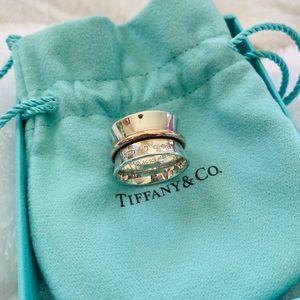 Tiffany & Co Silver Rubedo 1837 Belt Wide Ring 5